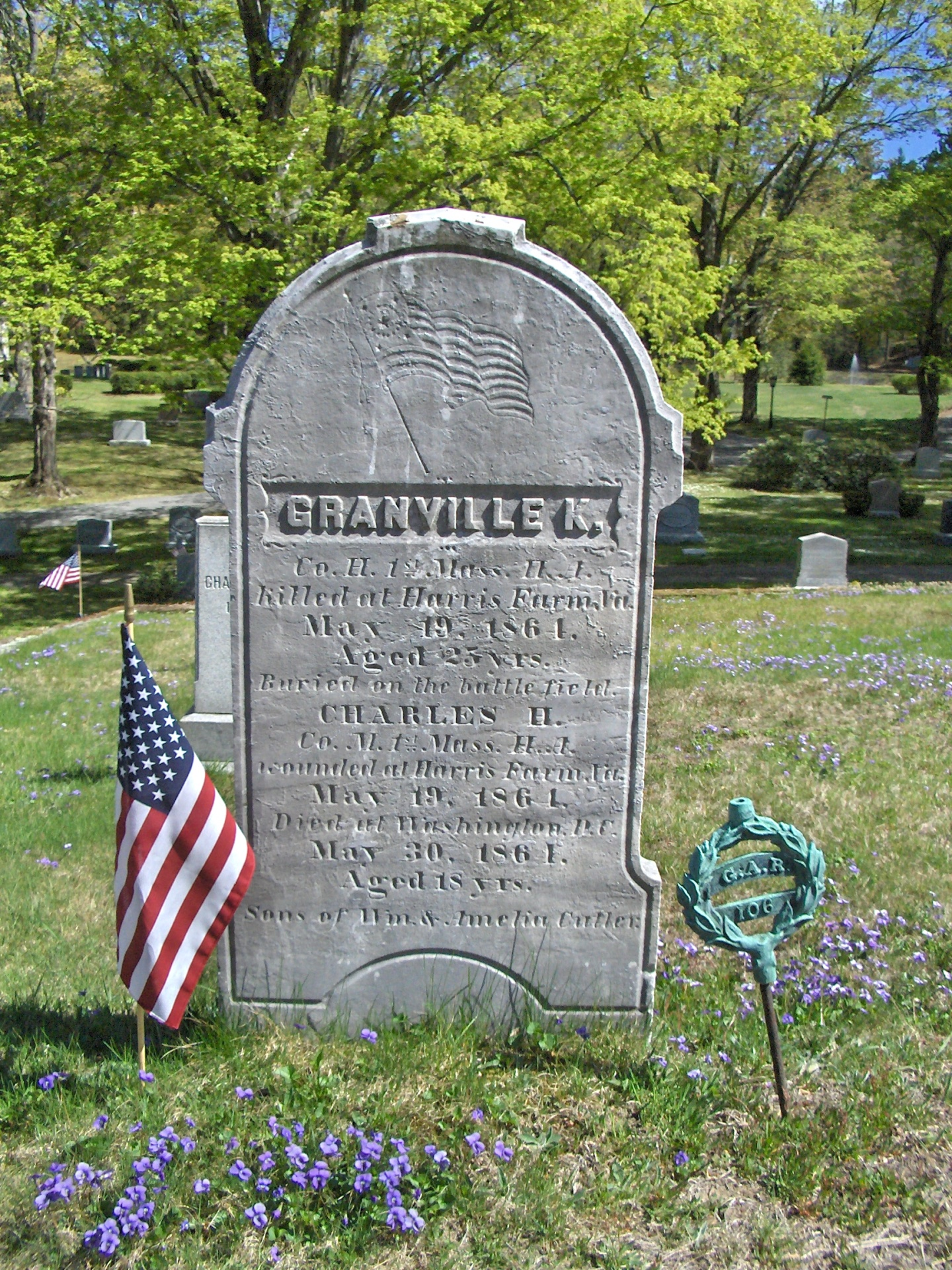Civil War veteran grave at South Church Andover MA